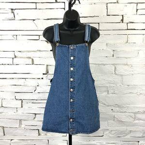 Forever 21 Denim Overall Dress Front Buttons 1080
